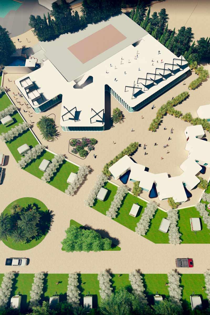 Camping vista aérea